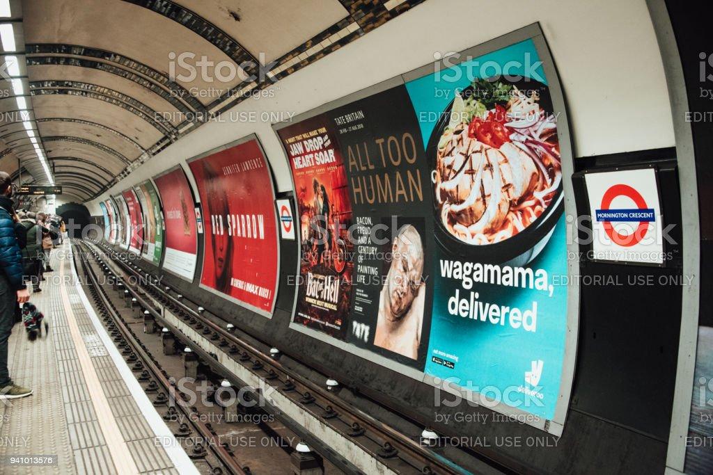 Advertisements inside London Underground stock photo