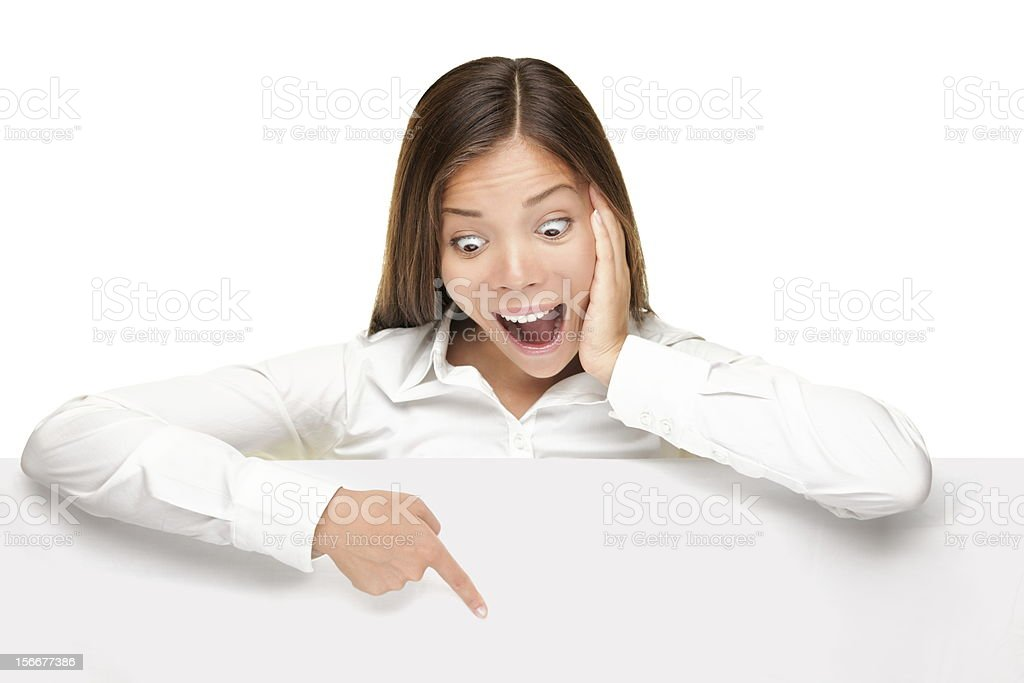 advertising banner sign - woman excited stock photo