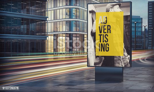 istock Advertising billboard in city night 910726378