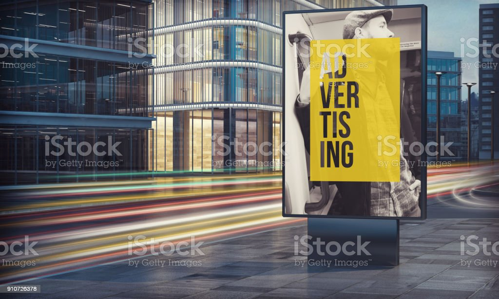 Advertising billboard in city night stock photo