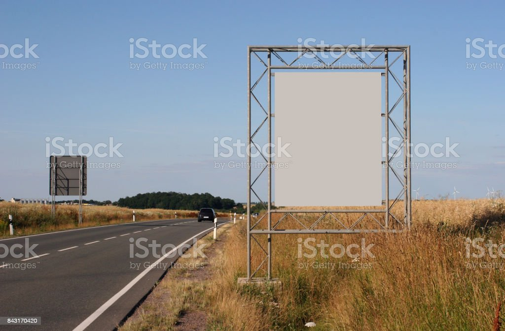 Advertising: Billboard on the edge of a federal road stock photo