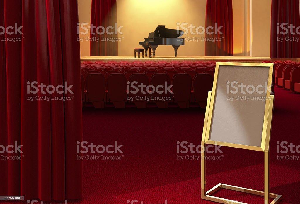 Advertising Board at piano concert royalty-free stock photo