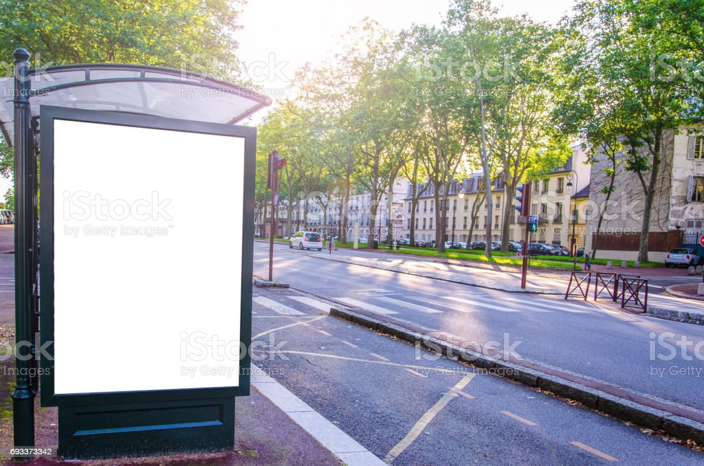 Advertising board with blank white display and copy space in an urban street stock photo