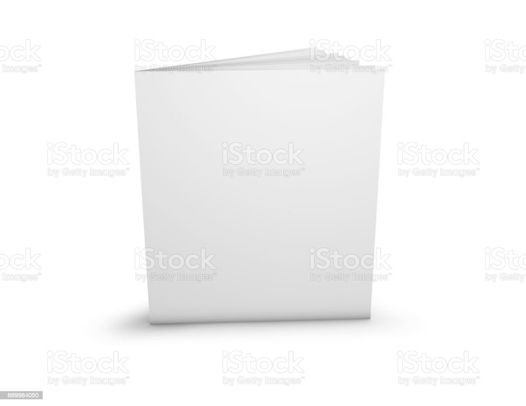 Advertising brochure presentation template with blank cover standing on floor. stock photo