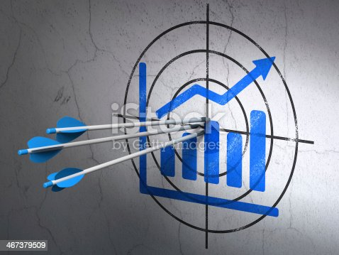1014851396 istock photo Advertising concept: arrows in Growth Graph target on wall background 467379509