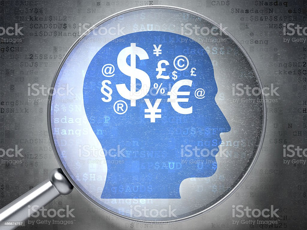 Advertising concept: Head Finance Symbol with optical glass on digital stock photo