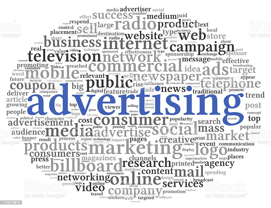 Advertising concept in word tag cloud royalty-free stock photo