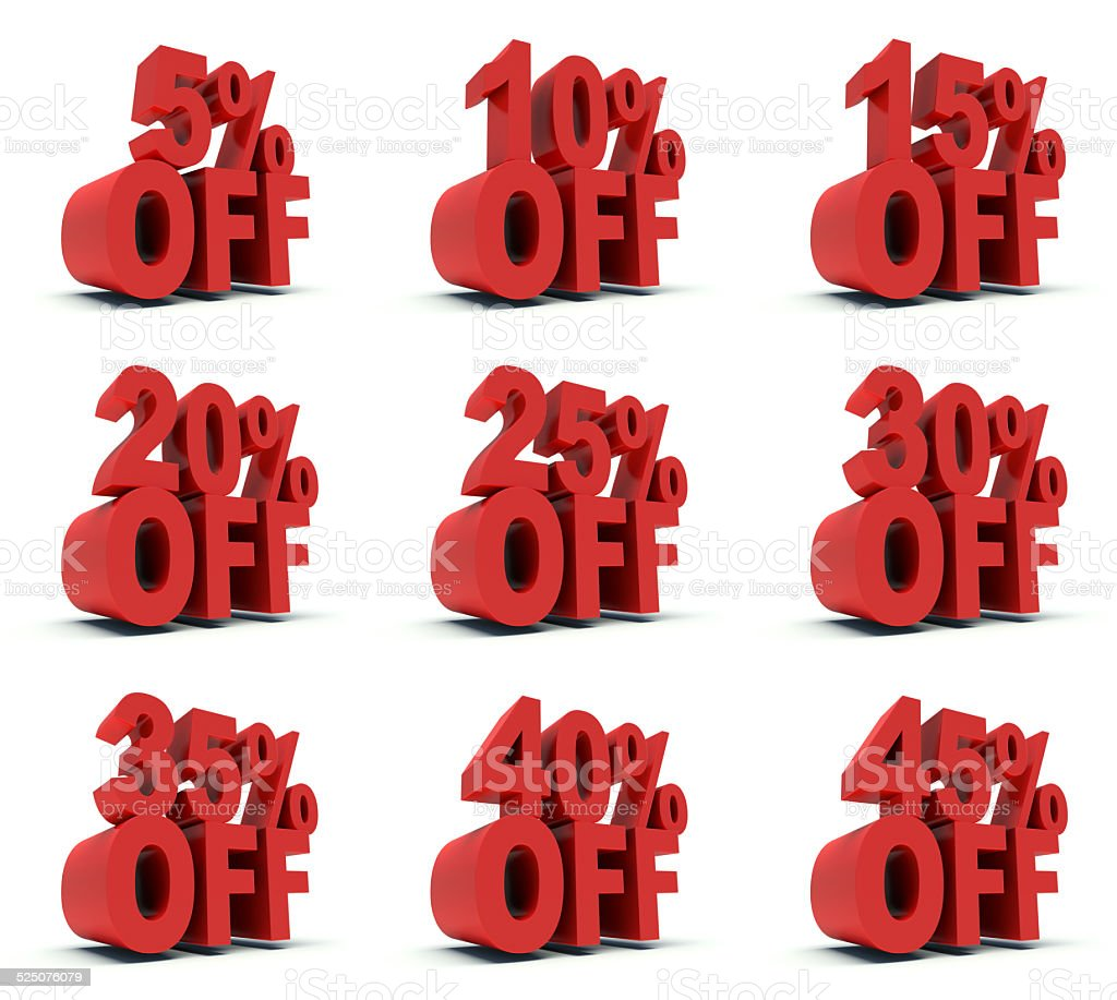 Advertising discounts 5% to 45 % Off in red. stock photo