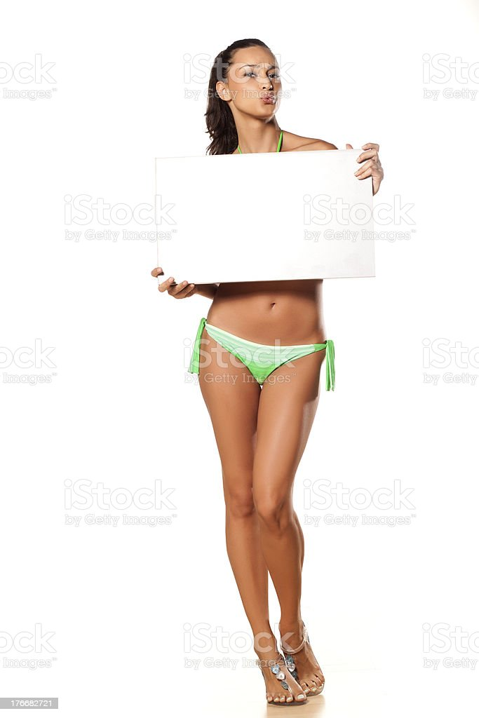 Advertising girl in bikini royalty-free stock photo