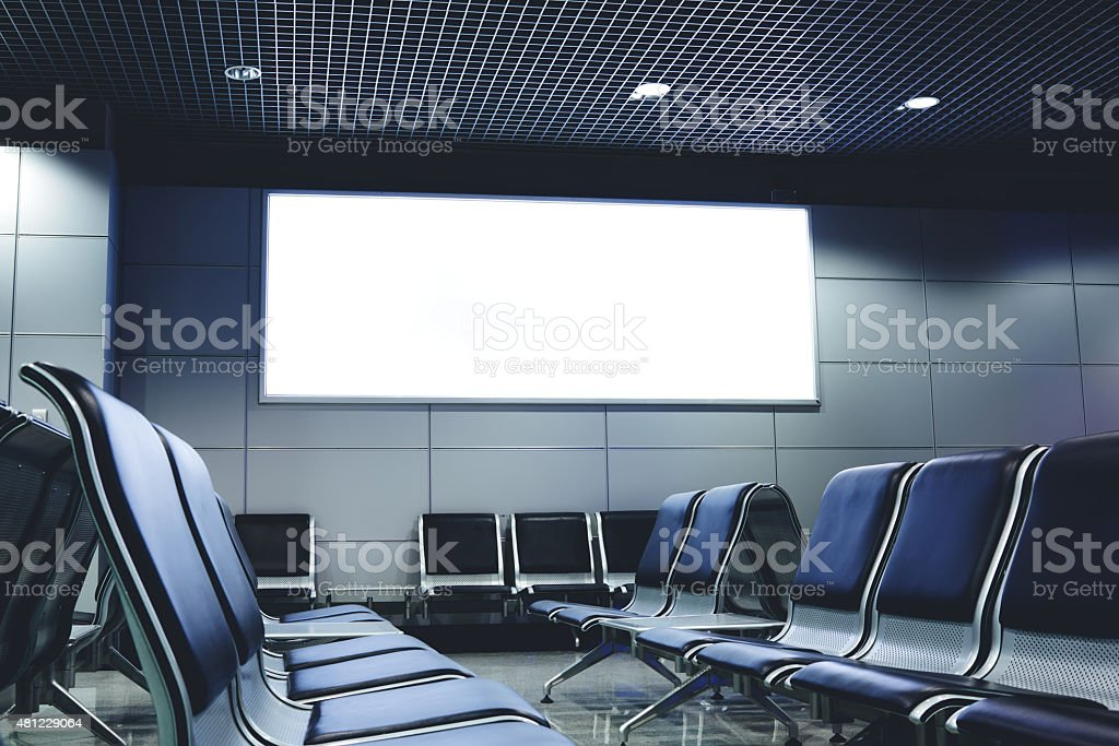 Advertising mock up in interior,template banner indoors stock photo