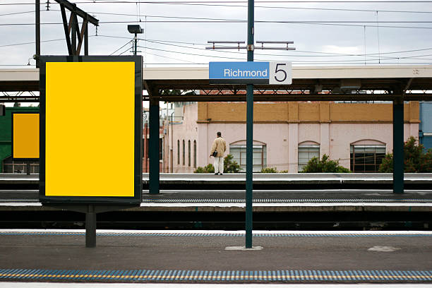 Advertising mockup background Advertising at train station, useful for mocking up ads.  Clipping paths in largest file size. railroad station platform stock pictures, royalty-free photos & images
