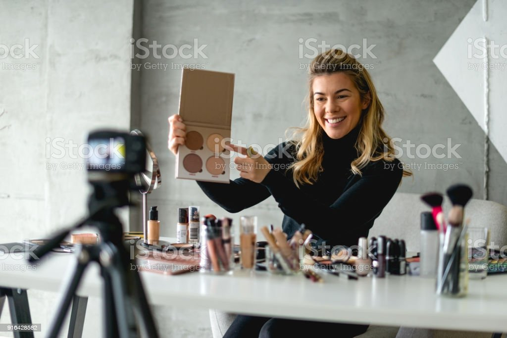 Advertising new make up products stock photo