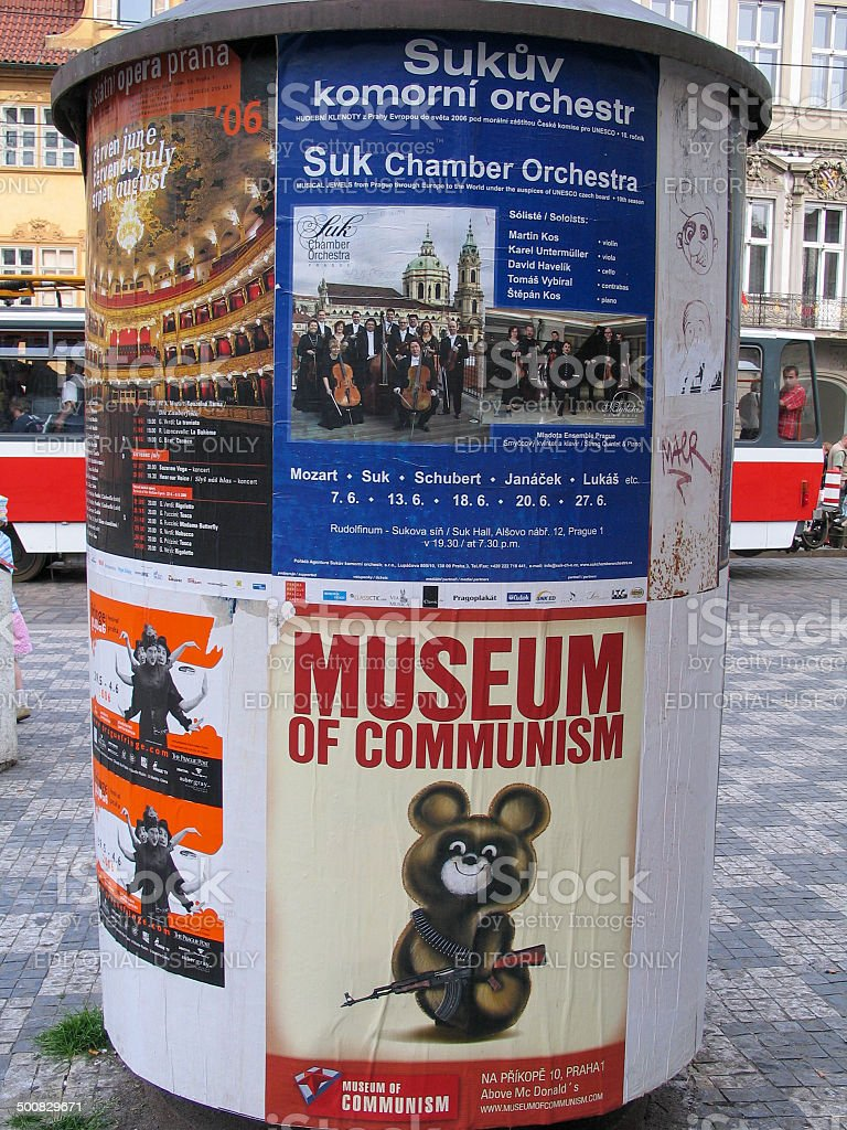 Advertising pillar with Museum of Communism banner in Old Town stock photo