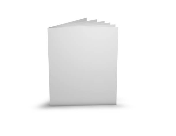 Advertising promotional brochure with blank cover. stock photo