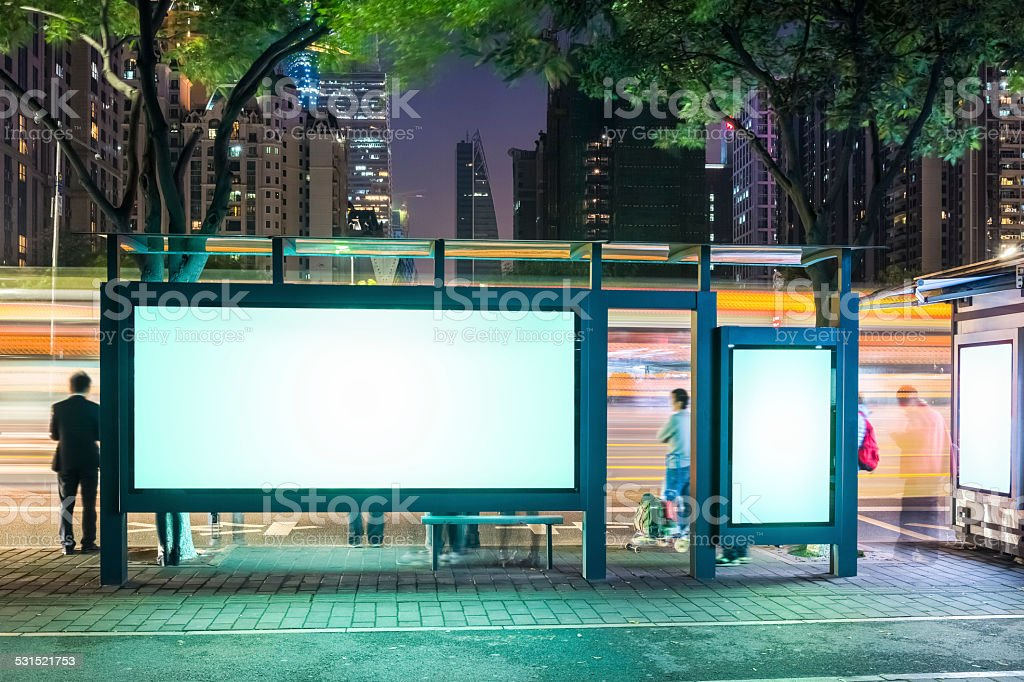 blank advertising screen on the bus station at night in guangzhou