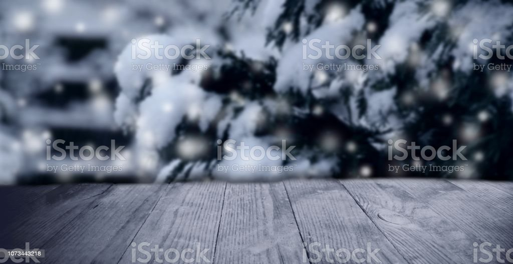 Advertising Space With Wooden Boards Background And Winter Motives