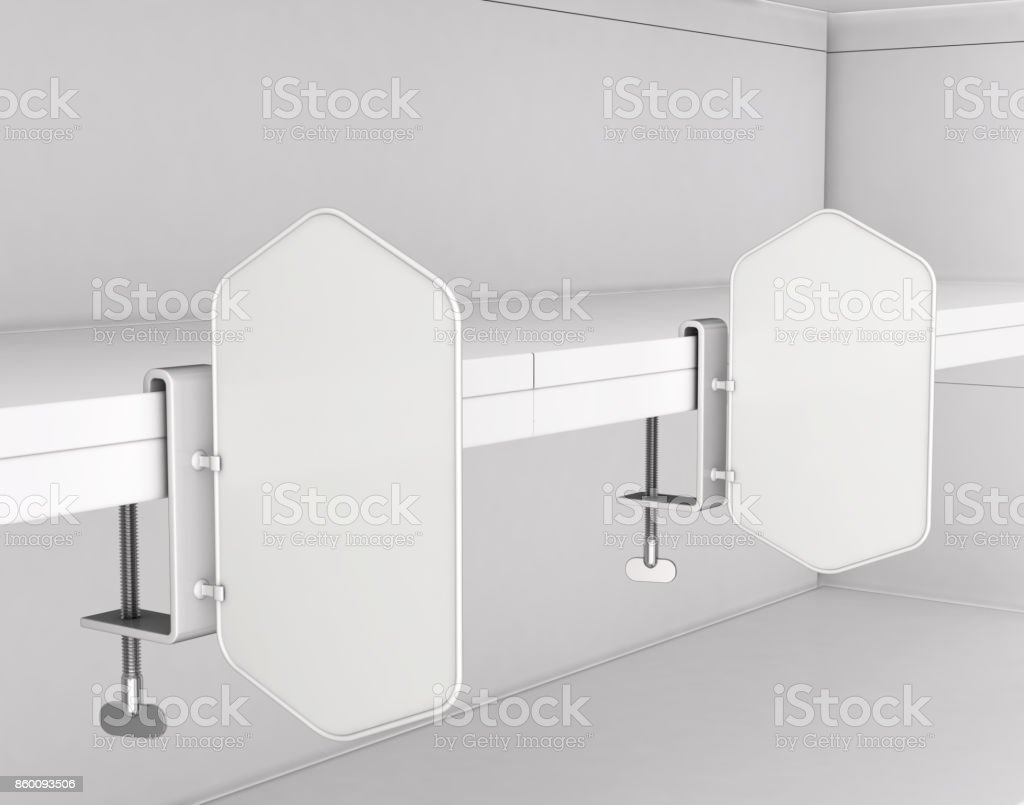 Advertising stoppers with a clamp on the shelf of the department store. stock photo