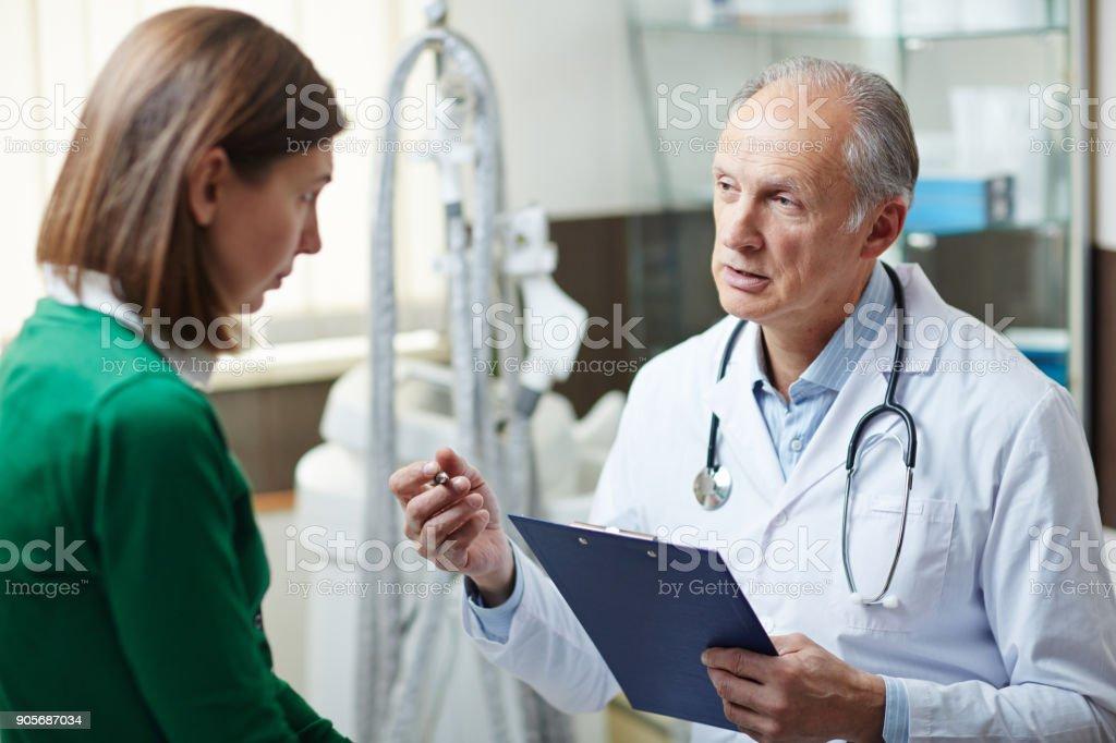 Advice of doctor stock photo