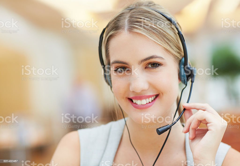 Advice with a smile stock photo