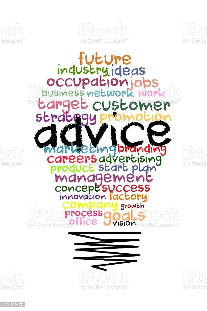 Advice word on colorful light bulb shape stock photo