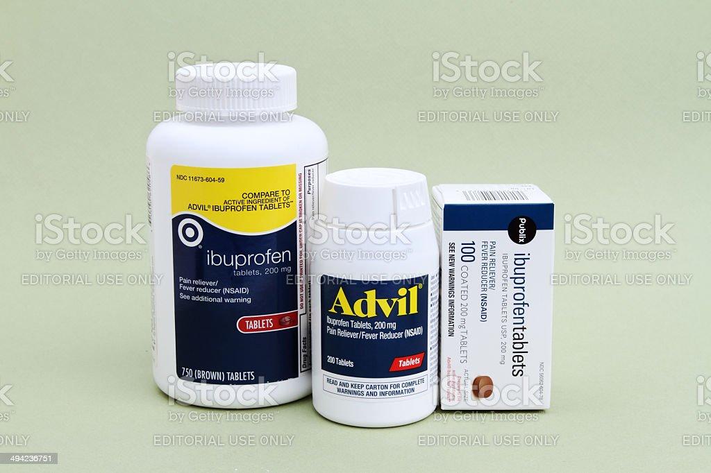 Advil and ibuprofen stock photo