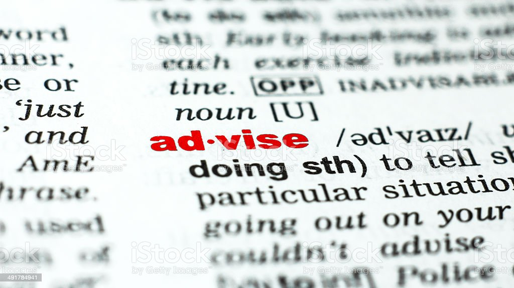 advise - word from dictionary/vocabulary stock photo
