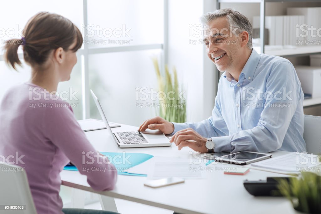 Advisor meeting with a customer stock photo