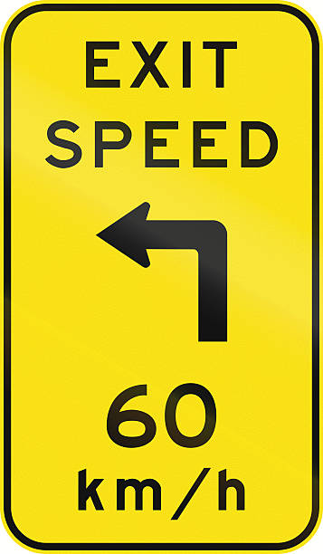 Advisory Exit Speed in Australia An Australian warning traffic sign - Advisory exit speed right angle stock pictures, royalty-free photos & images