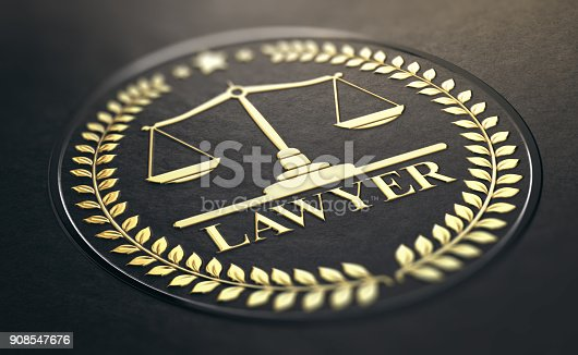 istock Advocacy or Lawyer Gold Symbol Over Black Background 908547676