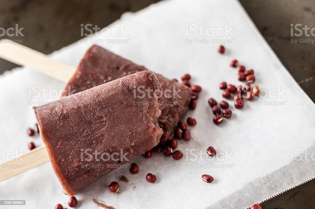 Adzuki red beans popsicle stock photo