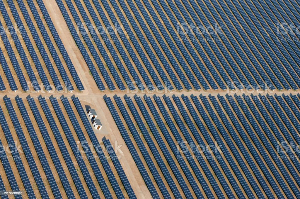 Aearial view above of solar farm stock photo
