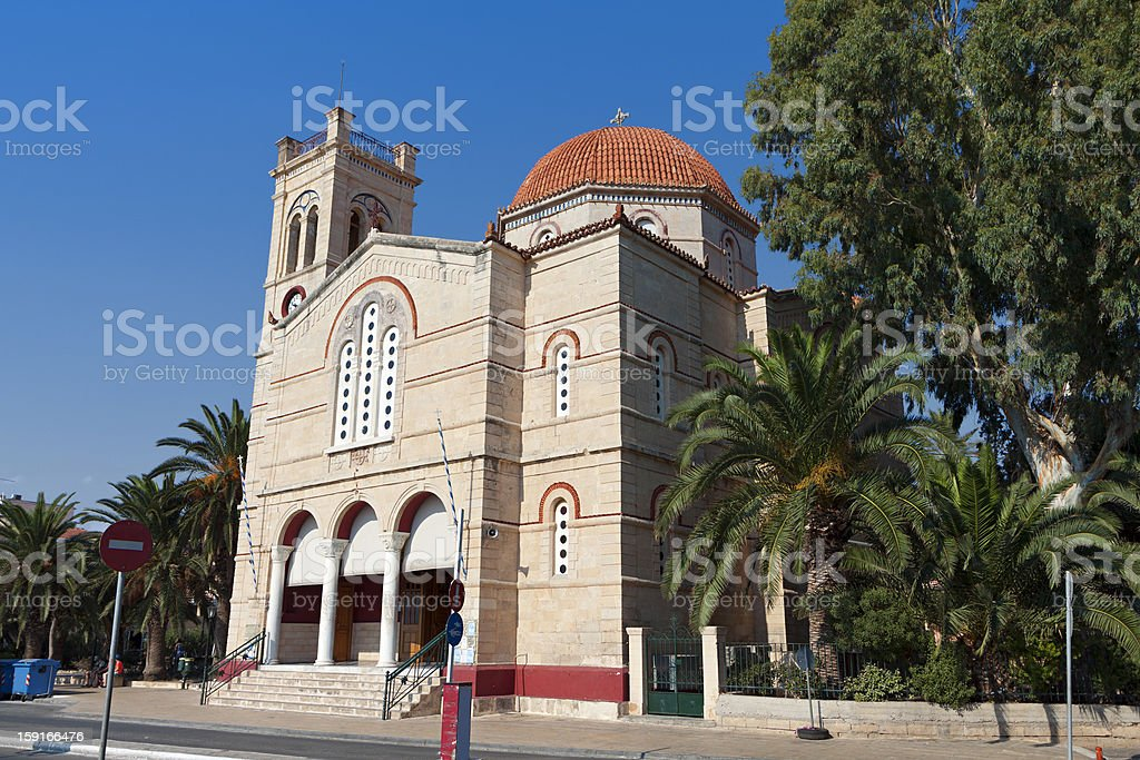 Aegina island in Greece. The Cathedral. stock photo
