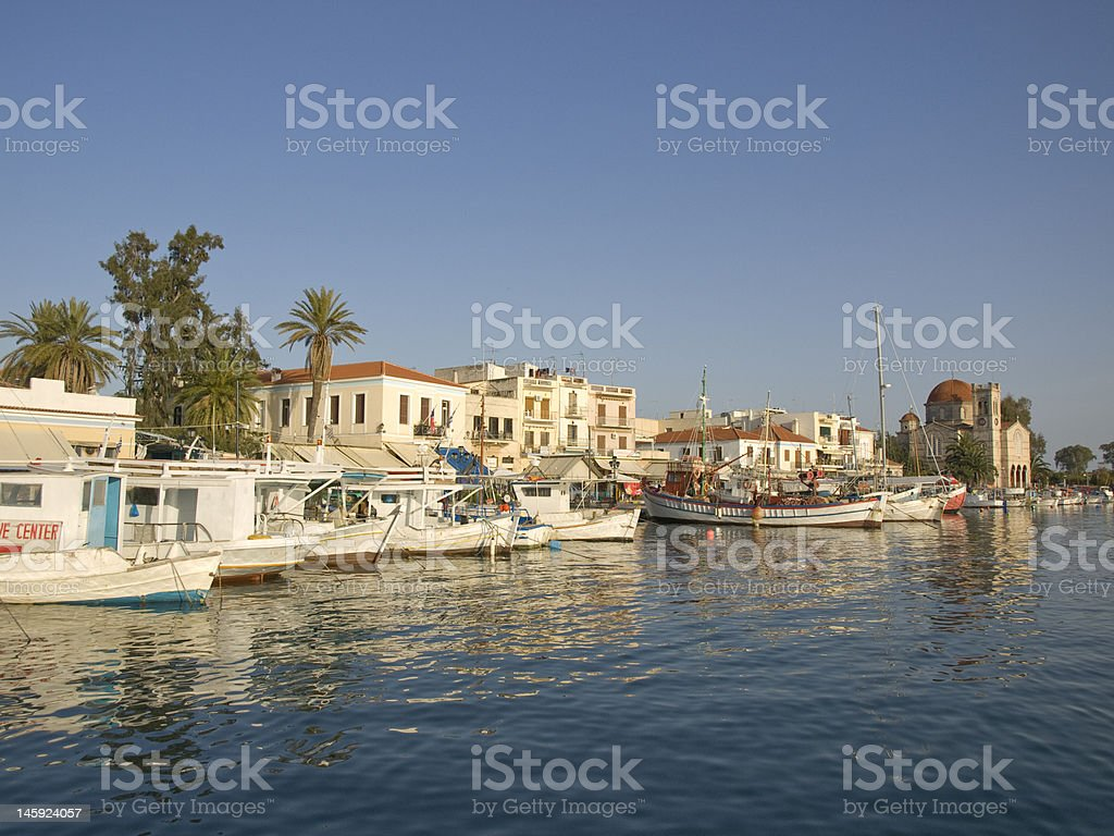 Aegina port 4 stock photo