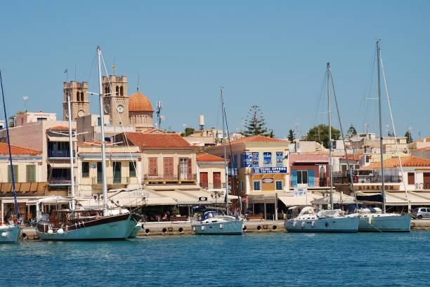 Aegina Town seafront, Greece stock photo