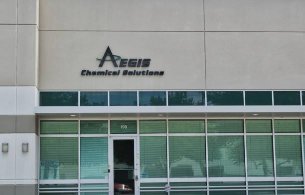 Aegis Chemical Solutions office building exterior in Houston, TX. Houston, Texas/USA 05/17/2020: Aegis Chemical Solutions office building exterior in Houston, TX. Production treating chemical company, water treatment and transfer services and drilling products. aegis stock pictures, royalty-free photos & images