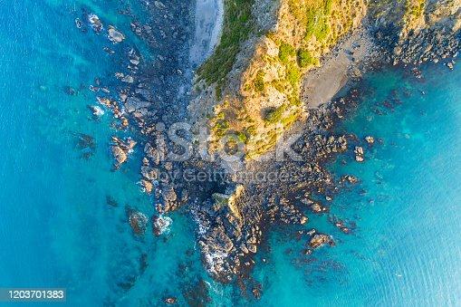 Cliff at Port Jackson beach, Coromandel Peninsula, New Zealand.