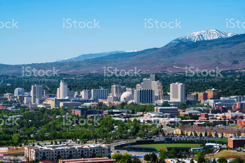 Aeial view of Reno, Nevada stock photo