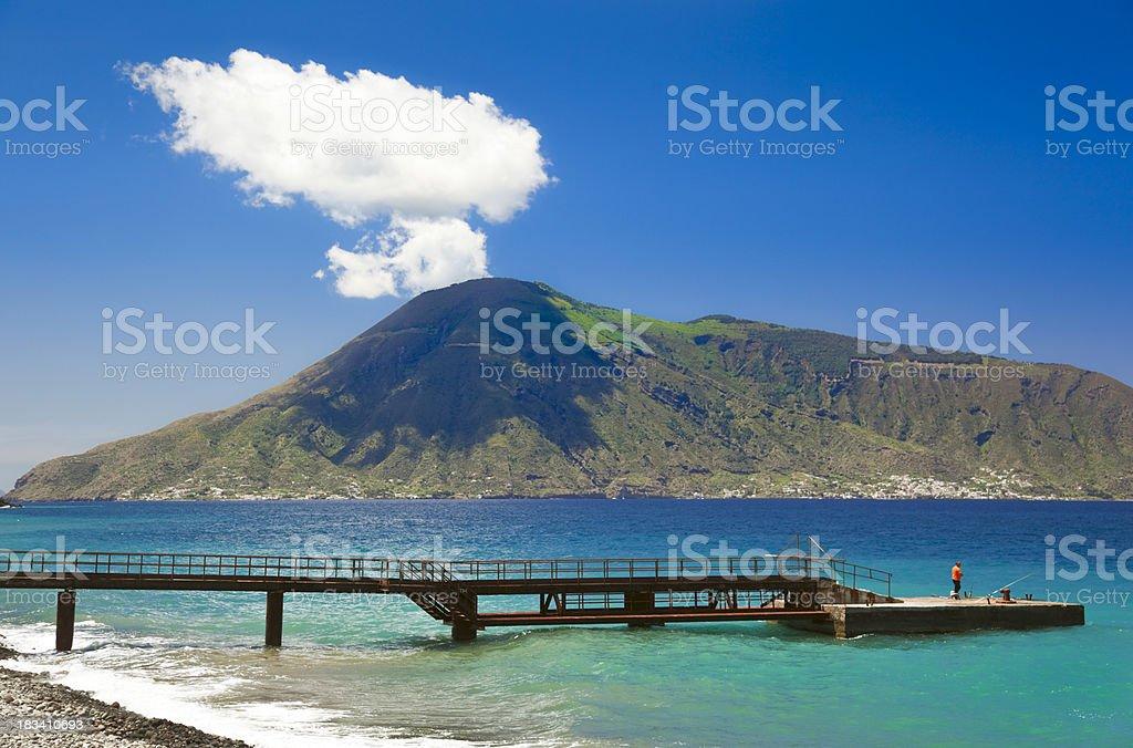 Aeolian Islands - view of Salina Island. stock photo