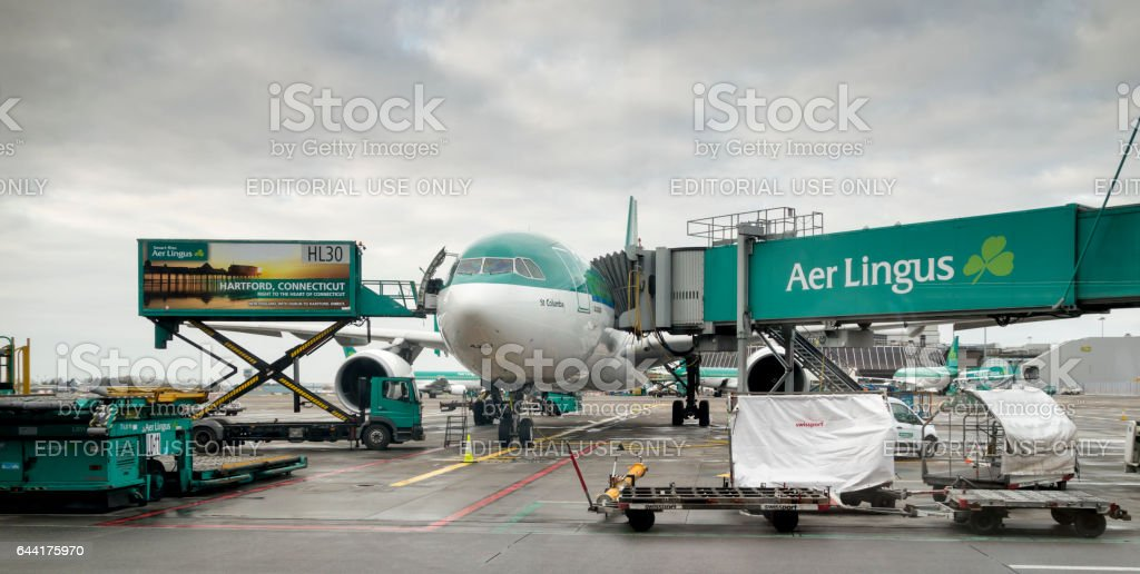 Aer Lingus A330/A332  on the ground in Dublin. stock photo