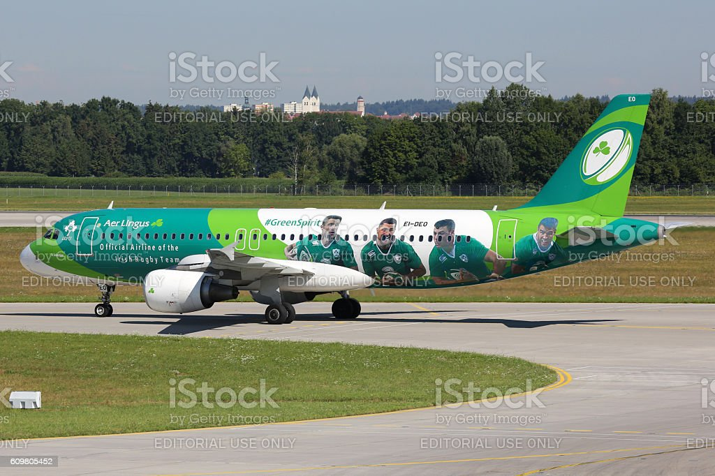 Aer Lingus Airbus A320 airplane special livery Green Spirit Rugb stock photo