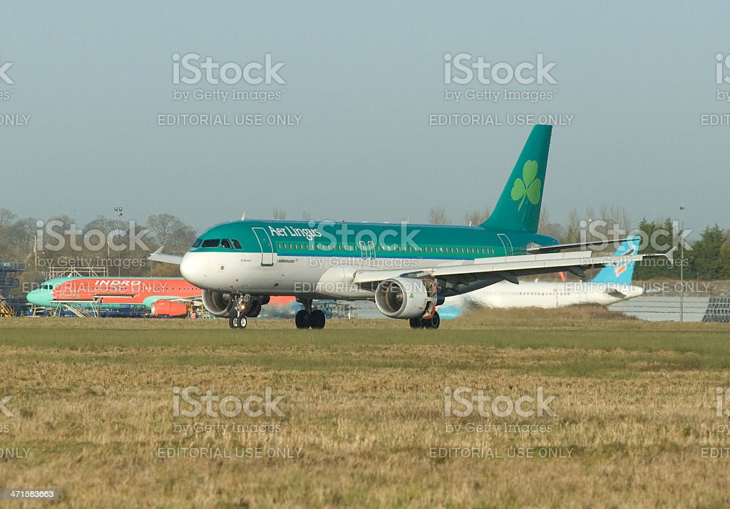 Aer Lingus Airbus A320 taking off from Shannon Airport stock photo