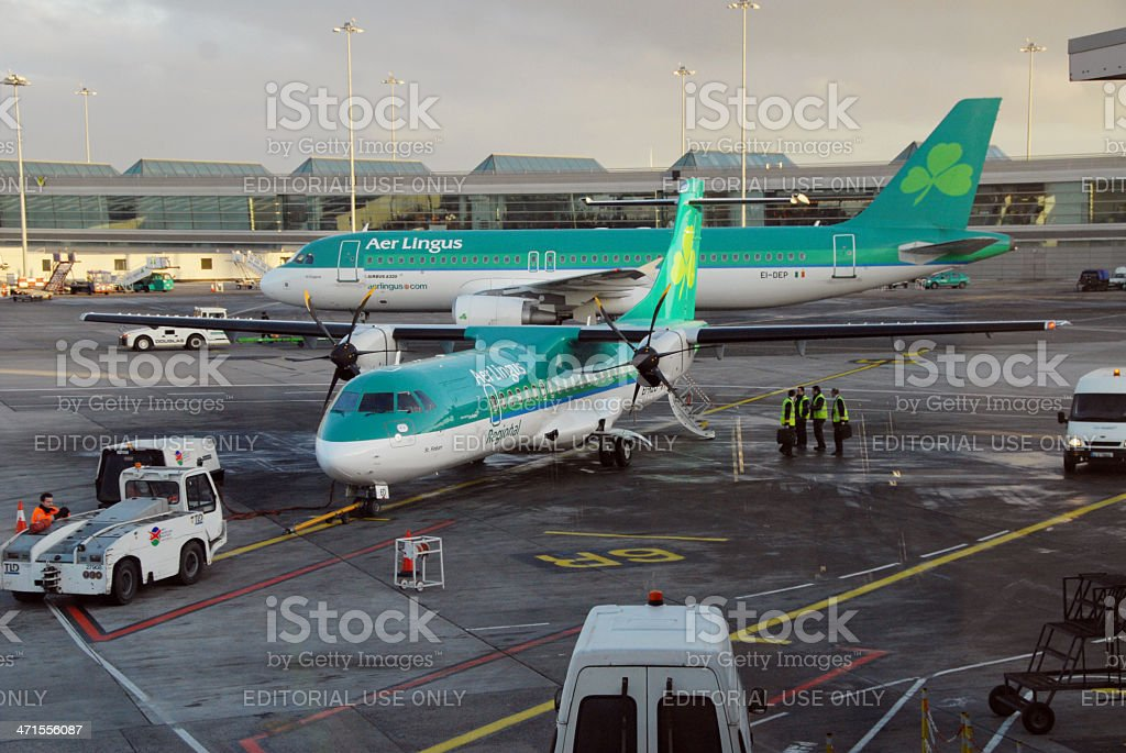 Aer Lingus Aircraft on stands at Dublin Airport stock photo