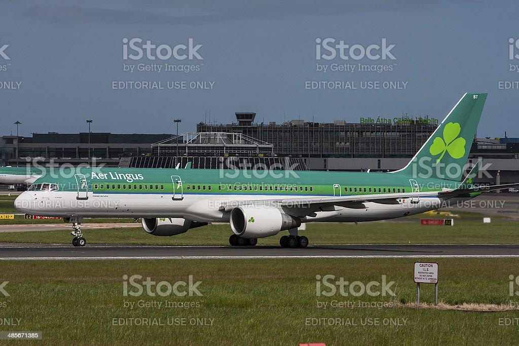 Aer Lingus Boeing 757 Dublin to Toronto inaugural flight stock photo