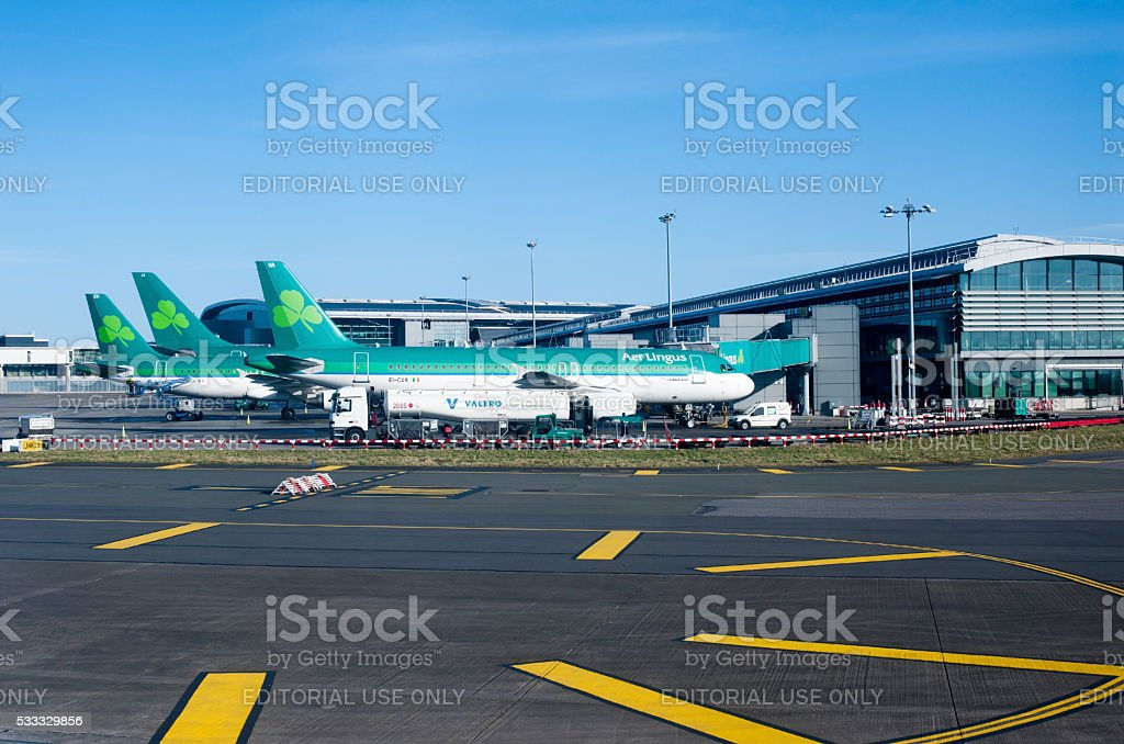 Aer Lingus planes lined up at Terminal 2