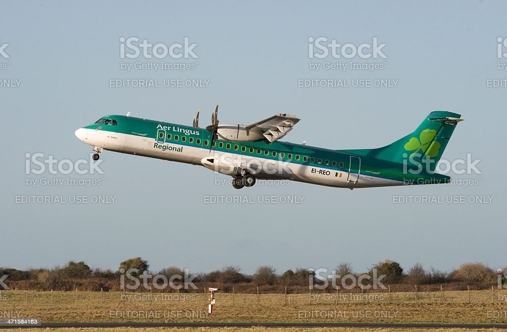 Aer Lingus Regional ATR  72-500 Turbo prop taking off stock photo