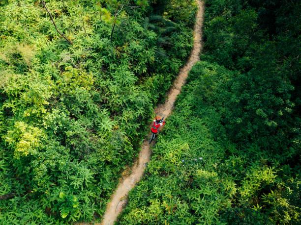 Aerail Blick auf Cross-Country-Radfahrerin Radfahrerin mit Mountainbike, die auf tropischem Regenwaldweg wandert – Foto