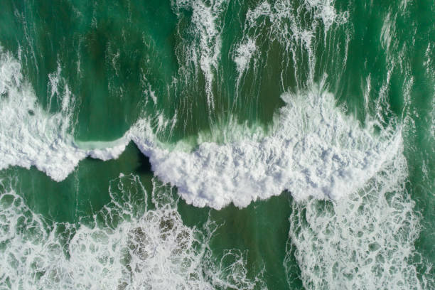 Aerail view of sea waves. stock photo