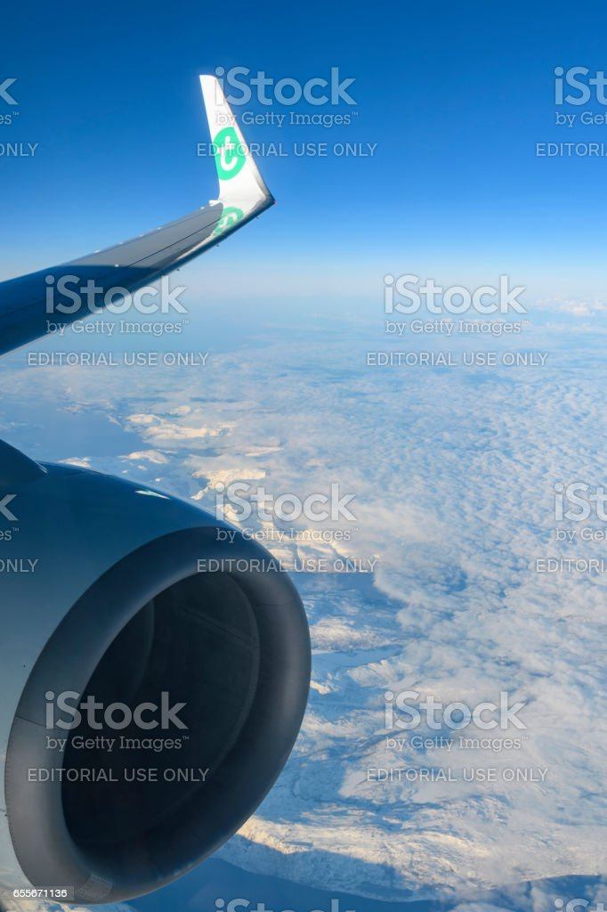 Aerail view over the snow covered mountains in Northern Norway stock photo