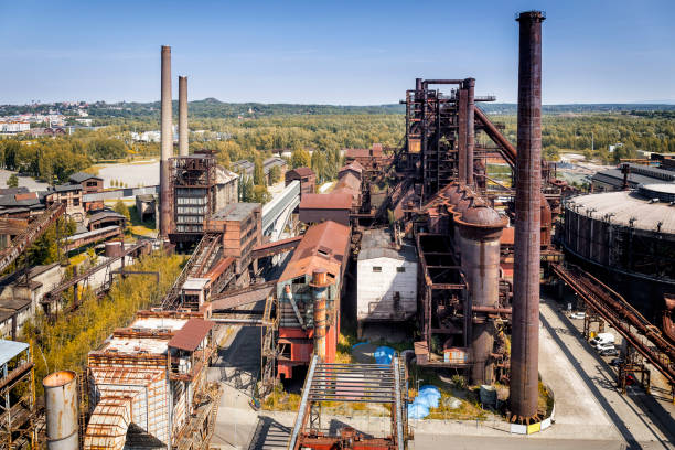 aeral viev of the old closed coal mine and steel mill - industrial revolution stock pictures, royalty-free photos & images