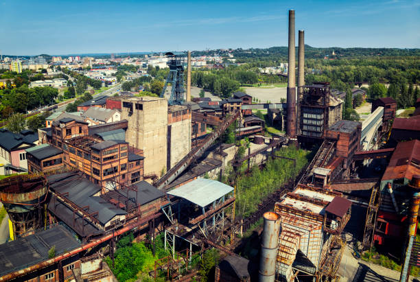 aeral viev of the old closed coal mine - industrial revolution stock pictures, royalty-free photos & images